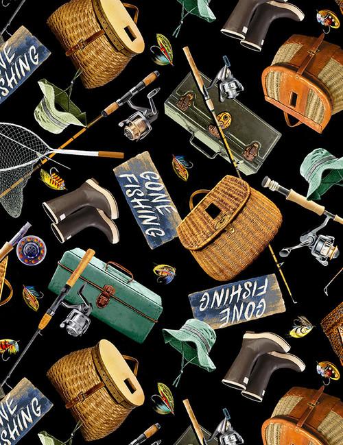 Cotton Print Yarmulkes Fishing Gear - BLACK