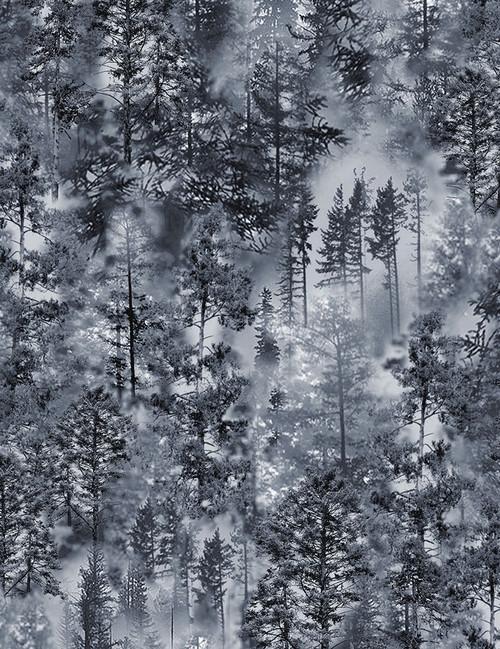 Cotton Print Yarmulkes Misty Trees - GREY