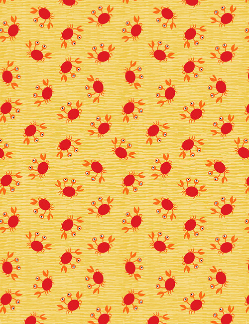 Cotton Print Yarmulkes Tossed Crabs - YELLOW