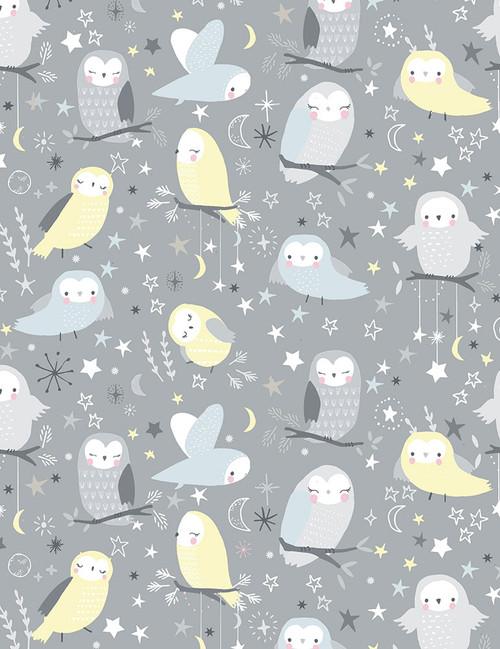 Cotton Print Yarmulkes Whimsical Owls - STONE