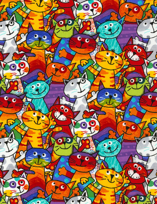 Cotton Print Yarmulkes Stacked Cats - MULTI