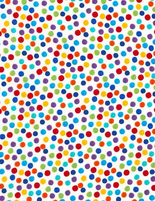 Cotton Print Yarmulkes Dots - WHITE