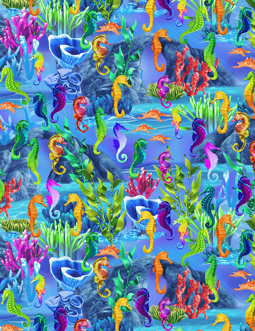 Cotton Print Yarmulkes Seahorses - SEA