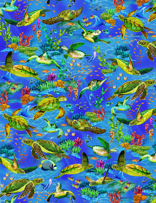 Cotton Print Yarmulkes Seaturtles - OCEAN