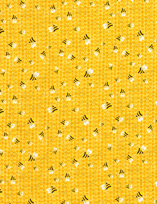 Cotton Print Yarmulkes Bees - HONEY