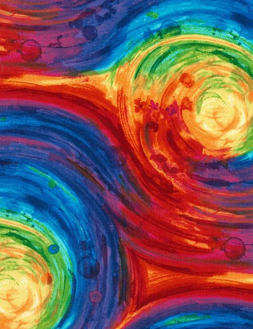 "Cotton Print Yarmulkes 108"" Painted Swirl - MULTI"