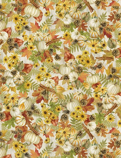 Cotton Print Yarmulkes Fall Foliage - HARVEST