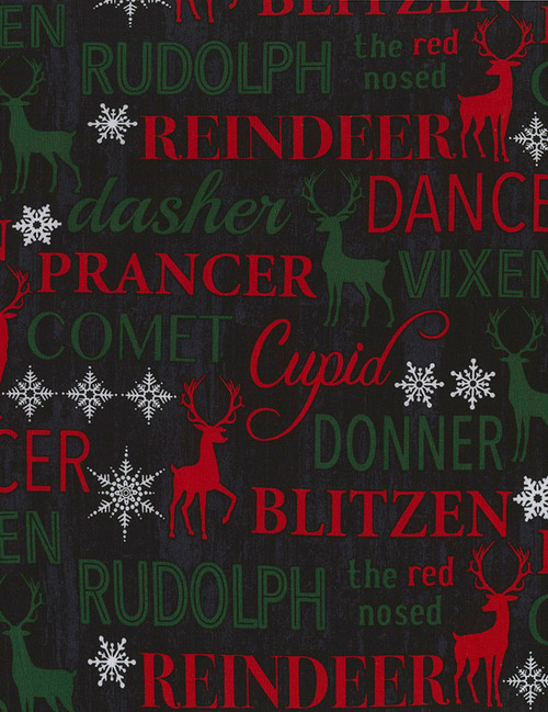 Cotton Print Yarmulkes Reindeer Names - REINDEER