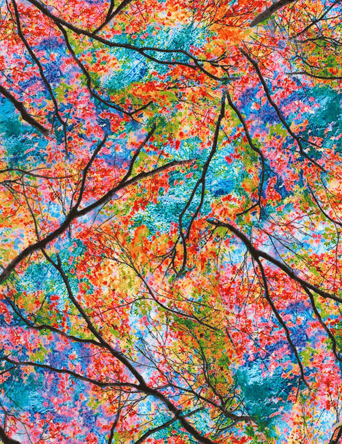 Cotton Print Yarmulkes Spring Trees - BRIGHT