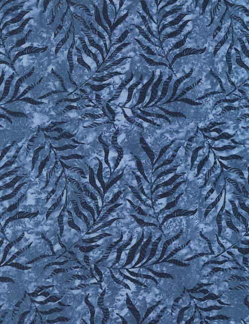 Cotton Print Yarmulkes Jungle Leaves - LAKE