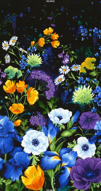"Cotton Print Yarmulkes 24"" Flower Panel - BLACK"