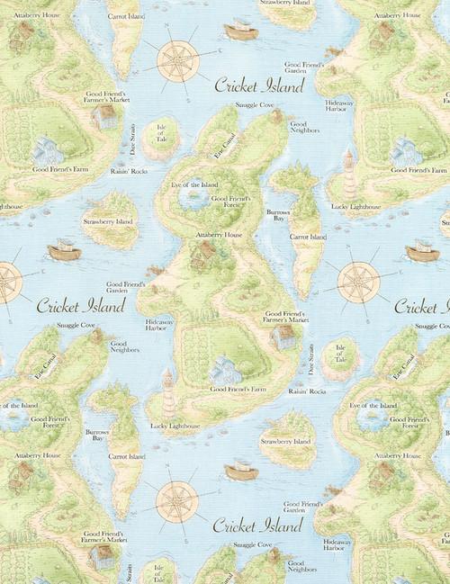 Cotton Print Yarmulkes Map - BLUE