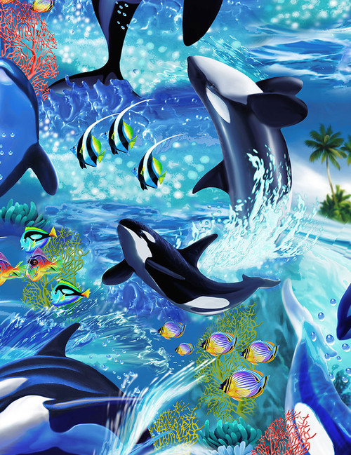 Cotton Print Yarmulkes Killerwhales - WAVE