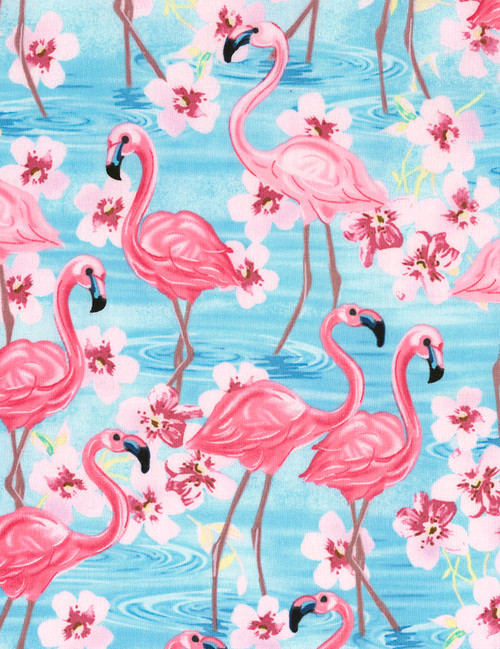 Cotton Print Yarmulkes Flamingos and Flowers - BLUE