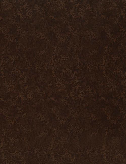 Cotton Print Yarmulkes Tonal Filigree - CHOCOLATE