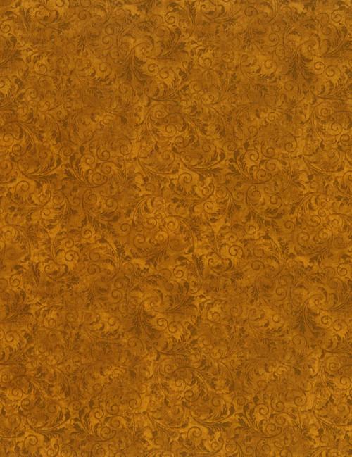 Cotton Print Yarmulkes Tonal Filigree - AMBER