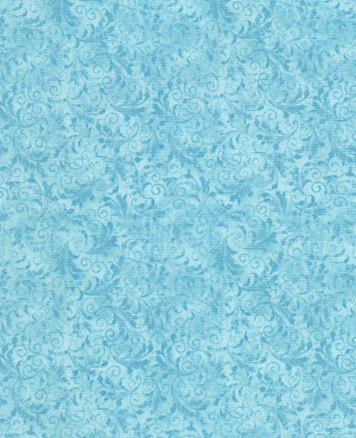 Cotton Print Yarmulkes Tonal Filigree - SKY