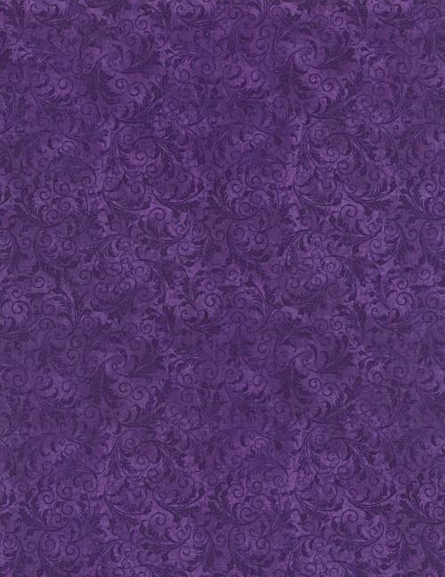 Cotton Print Yarmulkes Tonal Filigree - GRAPE
