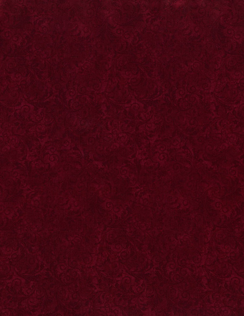 Cotton Print Yarmulkes Tonal Filigree - CHERRY