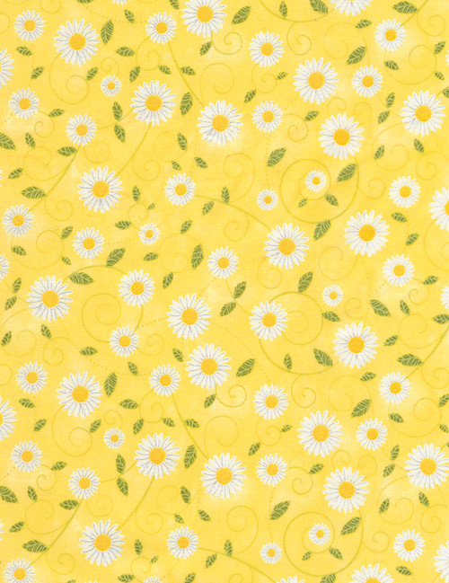 Cotton Print Yarmulkes Daisy Vines - YELLOW