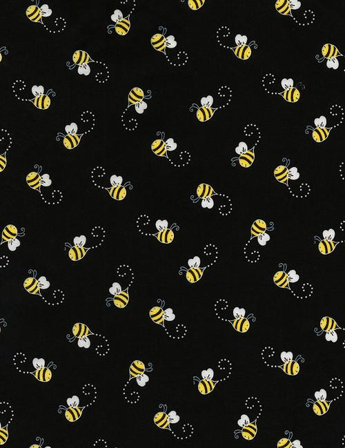 Cotton Print Yarmulkes Bees - BLACK