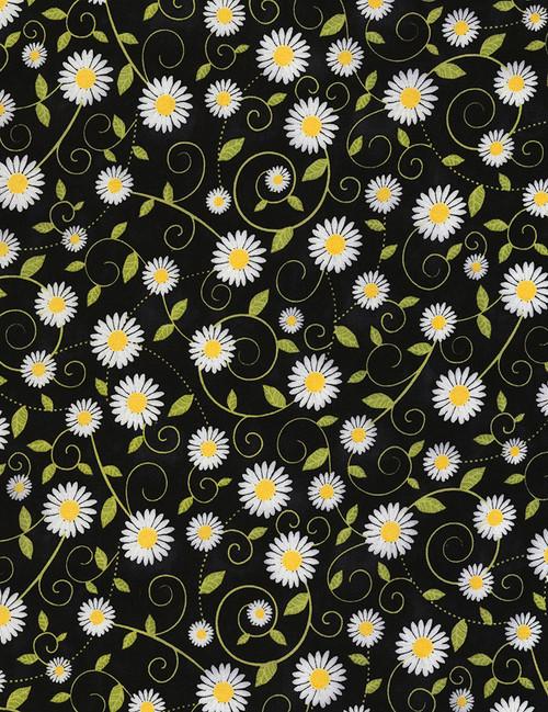 Cotton Print Yarmulkes Daisy Vines - BLACK