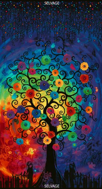 "Cotton Print Yarmulkes Fantasy Forest 24"" Panel - BRIGHT"