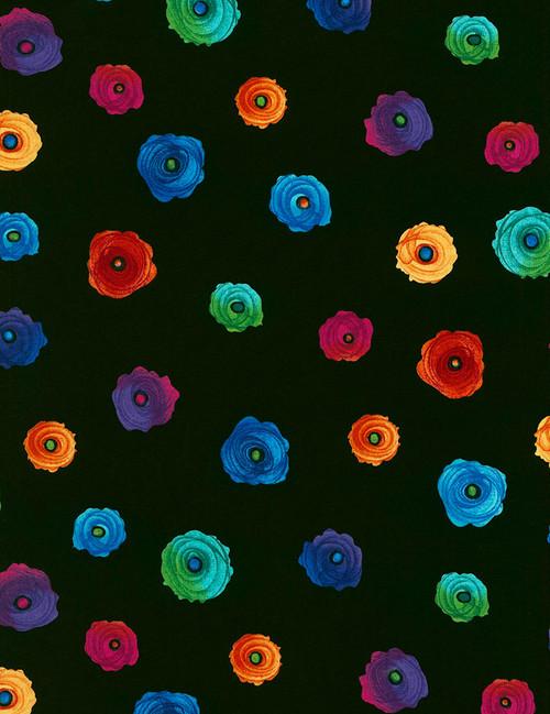Cotton Print Yarmulkes Spaced Flowers - BLACK
