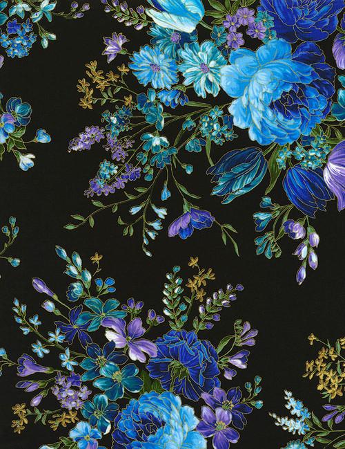 Cotton Print Yarmulkes Flower on Black Main - BLACK