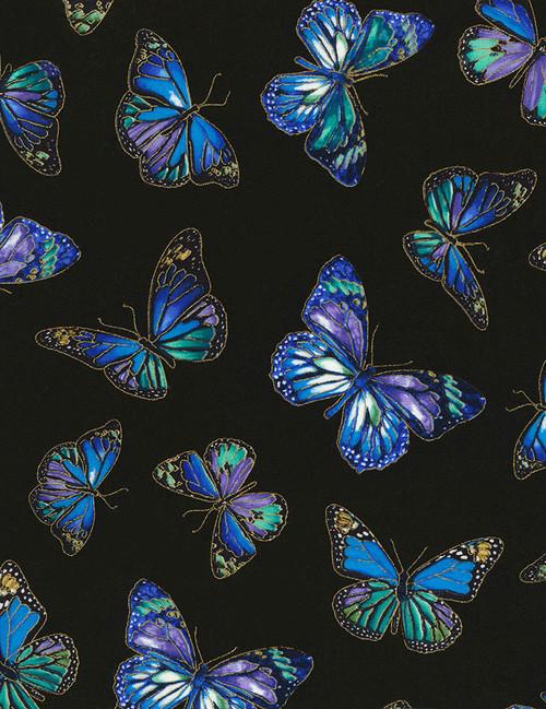Cotton Print Yarmulkes Butterflies - BLACK