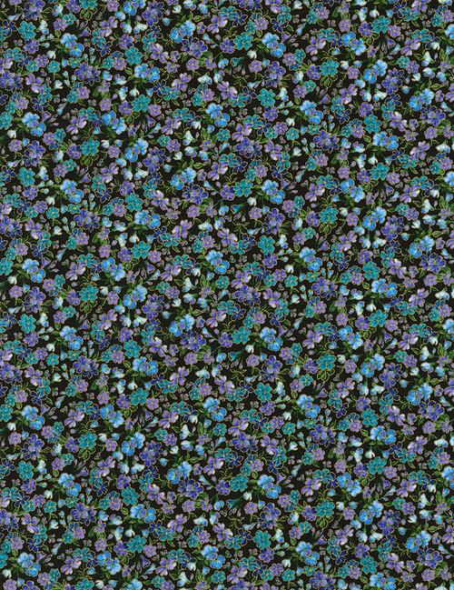 Cotton Print Yarmulkes Tossed Flowers - BLACK