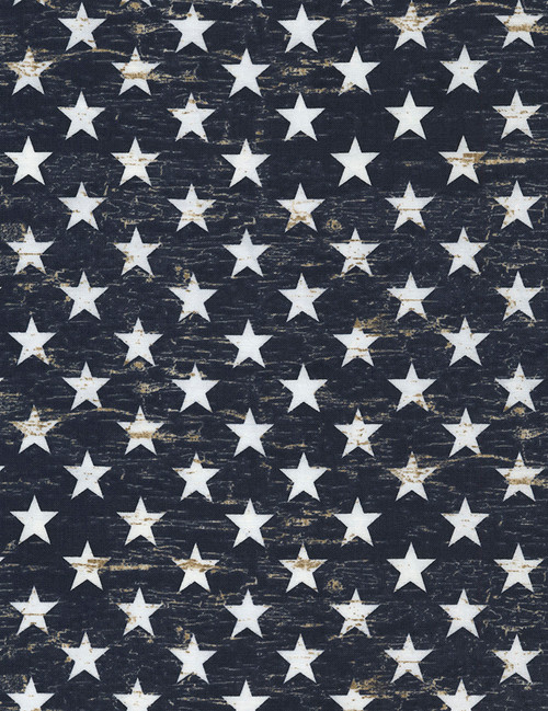 Cotton Print Yarmulkes Patriotic Stars - NAVY