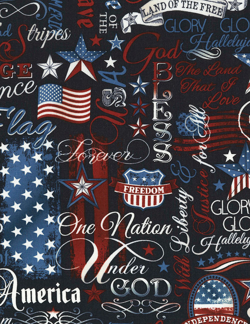 Cotton Print Yarmulkes Patriotic Words - NAVY