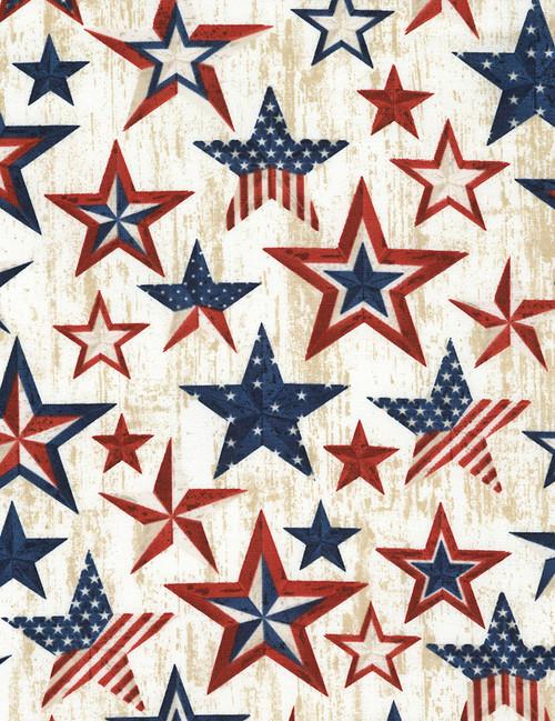 Cotton Print Yarmulkes Americana Stars - NATURAL