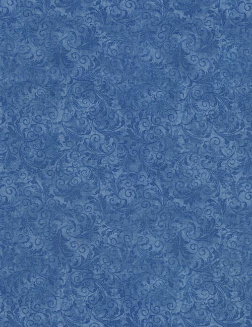 Cotton Print Yarmulkes Tonal Filigree - BLUE