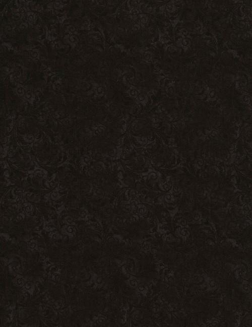 Cotton Print Yarmulkes Tonal Filigree - BLACK