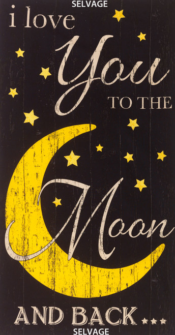 "Cotton Print Yarmulkes Moon 24"" Panel - NOIR"