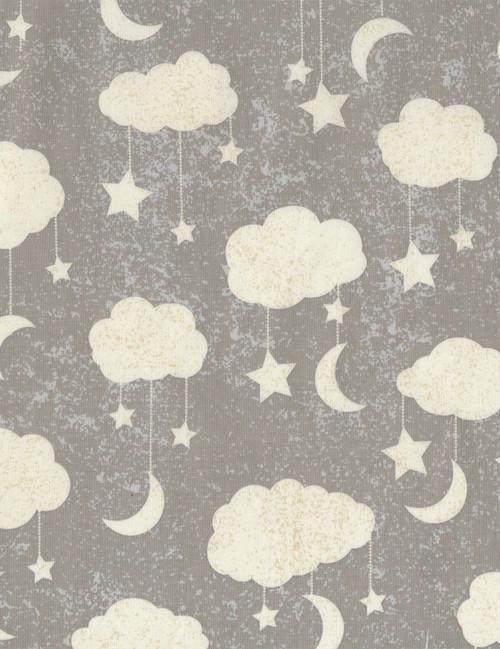 Cotton Print Yarmulkes Cloud Mobile - GREY