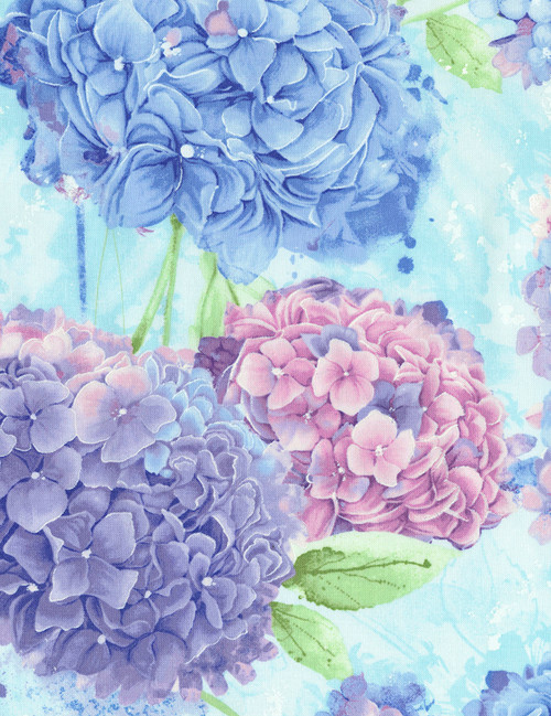 Cotton Print Yarmulkes Hydrangea - SKY
