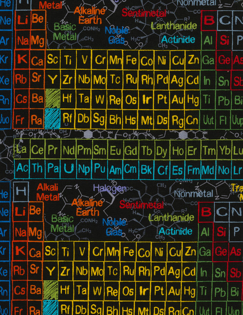 Cotton Print Yarmulkes Periodic Table - CHARCOAL