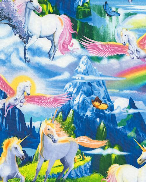 Cotton Print Yarmulkes Unicorns - MULTI