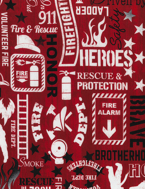 Cotton Print Yarmulkes Firefighter Words - RED
