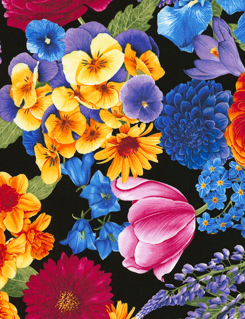 Cotton Print Yarmulkes Petal Party Main Floral - BLACK