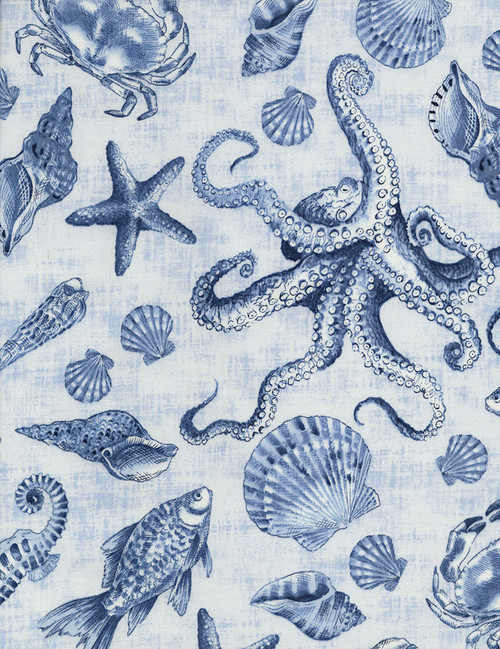 Cotton Print Yarmulkes Sea Life - DELFT