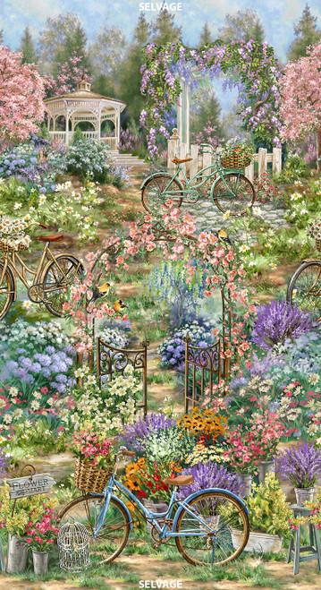 "Cotton Print Yarmulkes 24"" Scenic Flower Market - GARDEN"