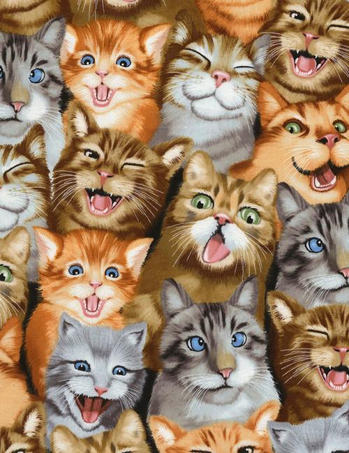 Cotton Print Yarmulkes Selfie Cats - NATURAL