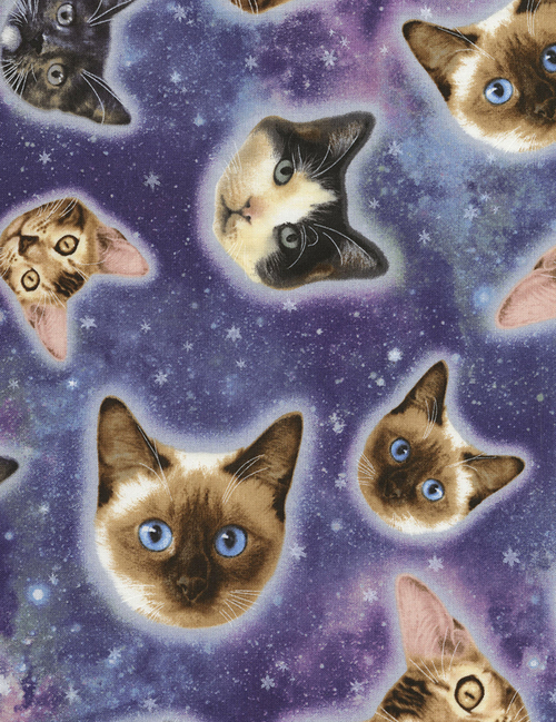 Cotton Print Yarmulkes Galaxy Cats - GALAXY