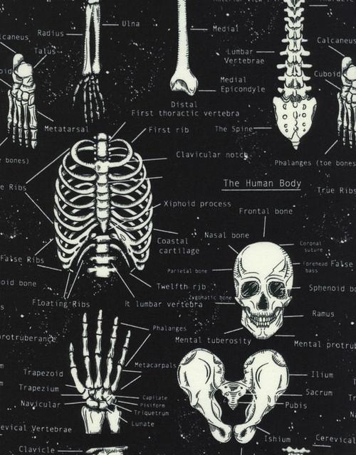 Cotton Print Yarmulkes Glow in the Dark Skeletons - BLACK