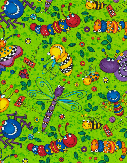 Cotton Print Yarmulkes Happy Bugs by 245 Design - LIME