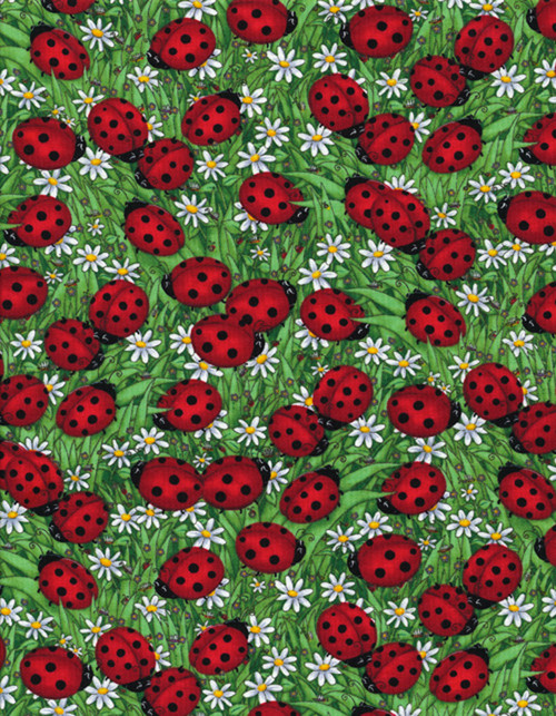 Cotton Print Yarmulkes Ladybugs by Debi Hron - GREEN